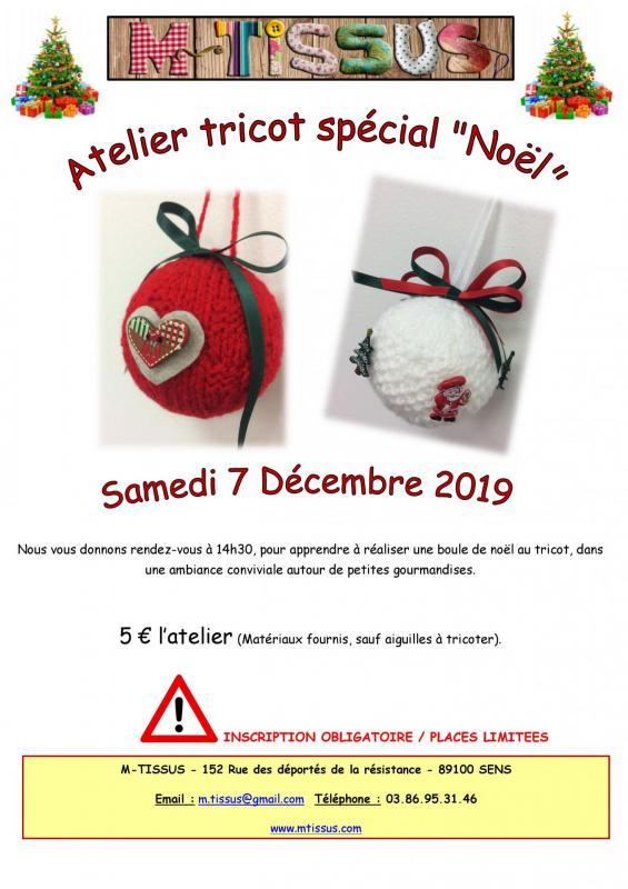 Affiche atelier tricot noel 2019